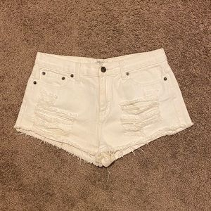 Forever 21 white distressed ripped shorts